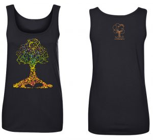 Ashley Megal's under the ashTree: Black T-Shirt with Chakra Tree
